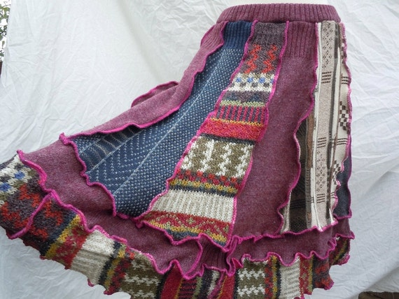 Patchwork, knit / sweater SKIRT with fuschia accents, no.128
