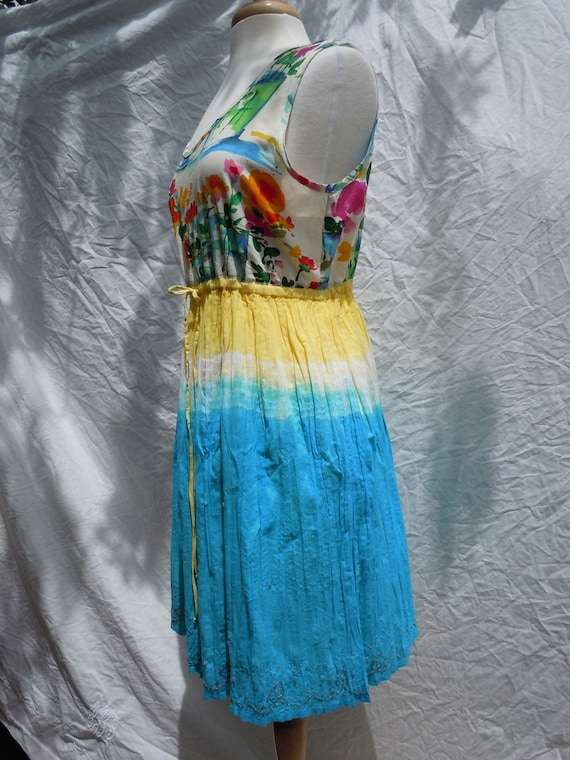 Gauze and rayon babydoll DRESS in turquoise and yellow with beads, no.136