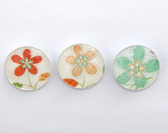Magnets Flowers Glass Set of 3