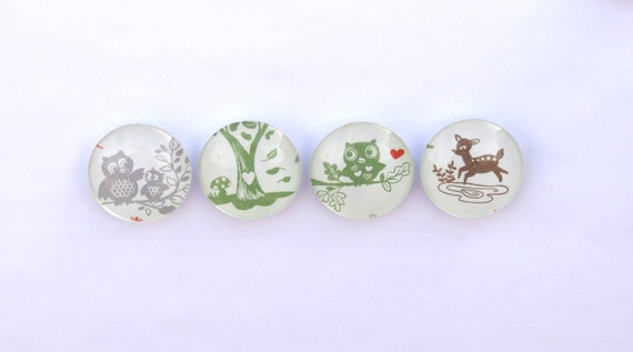 Owl Deer Magnets Glass Set of 4