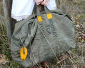 Rad Upcycled Surplus Military Duffel, large, reclaimed marigold yellow detail, handmade detachable feather charm, Hooray For Today