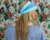 Elsa Hipster Head Wrap in Catalina blue, white & minty-blue lace trim