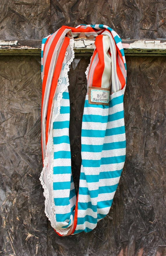 Heidi Beth Loopdy Scarf in nautical teal and lace jersey, catalina stripe, delicate vintage lace trim, & reclaimed leather detail