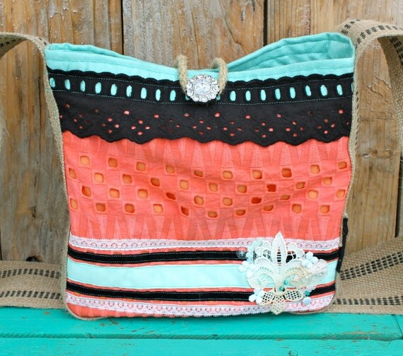 Leah Hip Bag in hand-dyed coral lace, peach, mint, turquoise, black eyelet lace, & vintage lace fleur de lis