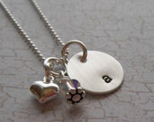 Personalized Hand Stamped Jewelry - Sterling Silver Initial Necklace - Heart