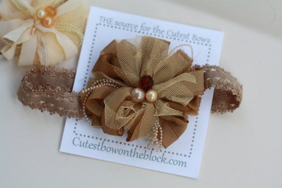 Brown Lacey Beaded Flower - GORGEOUS - Newborn to ADULT