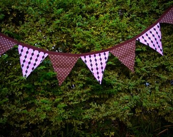 Fabric Banner, pink and brown