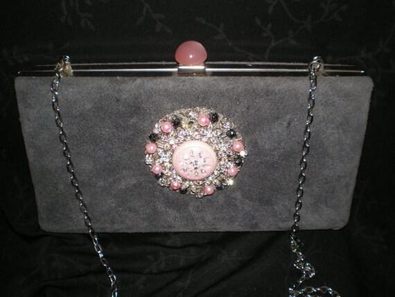 Hollywood Glam Vintage Jewel Encrusted Purse Evening Bag Pink Grey