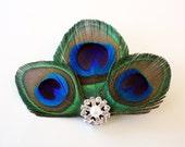Sneaky - Peacock feather hair clip / Peacock fascinator / Bridal headpiece