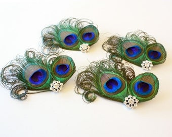 Bridesmaid Hair Clips - Set of 4 Fanciful peacock fascinators / Bridesmaid headpiece