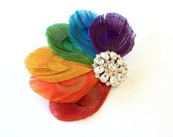 Tequila - Rainbow peacock feather hair clip