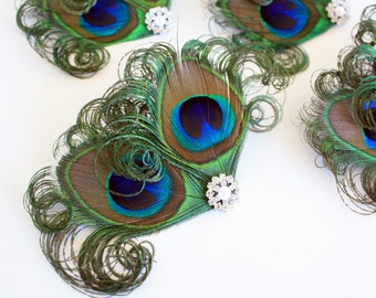 Bridesmaid hair clips - Set of 4 Charming peacock feather fascinators / Peacock hair accessories