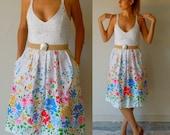 Vintage 1950s Pin Up Girl Dress - Polka Dot - Floral Print - Lanz Original