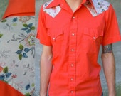 Vintage Western Shirt - Pearly Snap Front - Orange with Floral Print