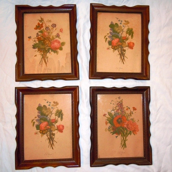 Antique 1930s Framed Floral Print Pictures By By