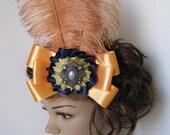 Circus Carnival - Golden Lemon Chiffon and Royal Dark Blue Bow w/ Medallion and Peach Feathers Hair Coiffure