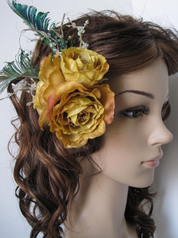 Enchanted Golden Orange-Yellow Rose w/ Feathers Hair Coiffure
