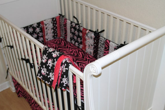Pink skull rocker rock and roll rockabilly 4 peice crib for Rock n roll baby crib set