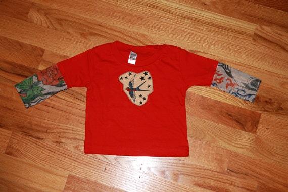 Children's tattoo sleeve onesie with tattoo applique