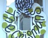 Crisman Welcome Wood Door Wreath, Housewarming, Holiday, Personalized Decorative Door Hanging
