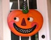 Vintage Halloween Pumpkin, Fall Wreath, Jack-O-Lantern, Fall Door Sign, Wood Wall Art, Jack Is Back