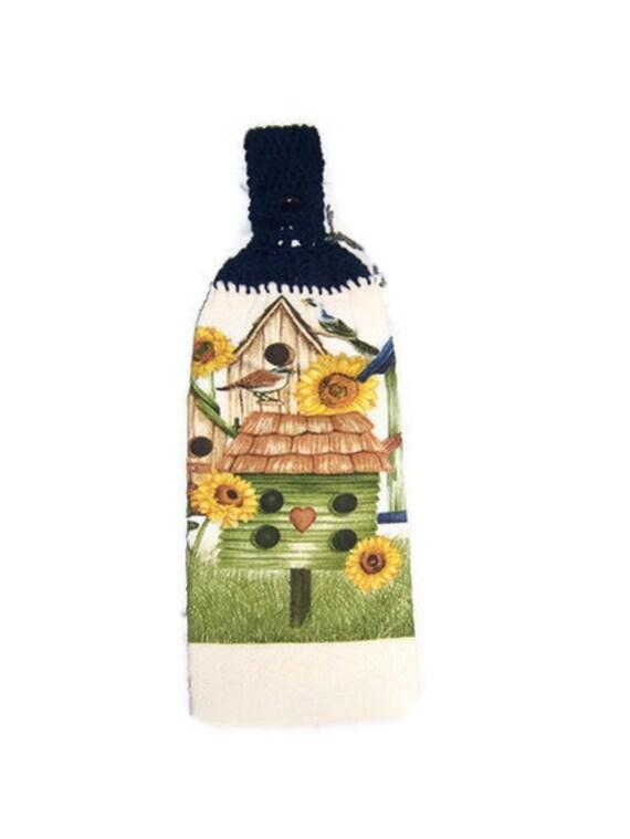 SALE 40 % off  Birds Sunflower Bird House Towel... DARK blue Crocheted TOP ... Outdoors natural