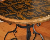 Round Occasional Table W/Wrought Iron Base / Hand Painted Furniture/Decoupaged