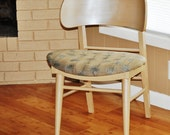 Atomic Chair/ Mid Century Mod Chair in Metallic Silver & Wheat Color w/Dandelions Mod Fabric