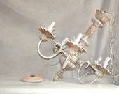 Hand Painted Chandelier. Five 5 Arm Beautiful Upcycled Antique-Glazed White Chandelier