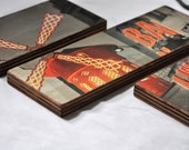 Modern Photo Collage. Paris Photo Collection on Layered Birch Block. Wall Hanging Art. Moulin Rouge