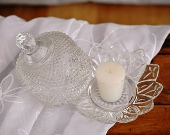 Cut Glass Butter Dish Vintage Domed Lidded Mid Century Serving Plate Covered Dish Clear Antique Server Candle Holder Candy Dish