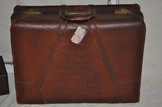 Leather Suitcase-Antique Skyway Brown Leather