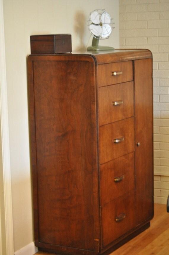 small vintage art deco chifferobe armoire. Black Bedroom Furniture Sets. Home Design Ideas