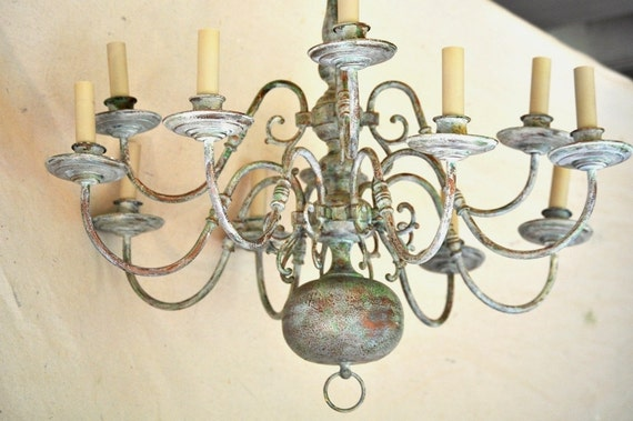 Reserved for Heather: Antiqued Painted Chandelier/ Large 12 Arm Chandelier in Faux Aged Copper