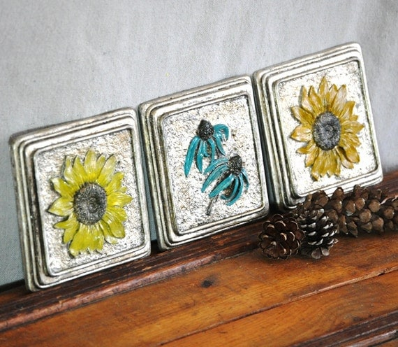 Floral Plaque Wall Hanging Set  Black Eyed Susan. Sunflowers. Echinacea 3D Silver Flowers Art Collection