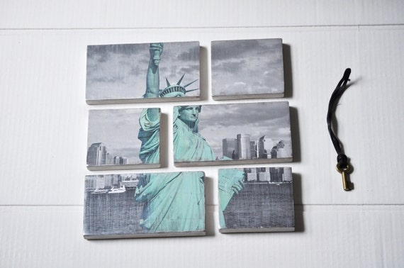 Modern Photo Collage.New York City Photo Collection on Layered Birch Block. Wall Hanging Art. STatue of Liberty