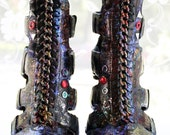 Size 7.5 Leather Wrapped Hand-Dyed Gladiator Boots