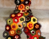 RESERVED-Autumn  colors hexagon granny square  crocheted scarf -RESERVED