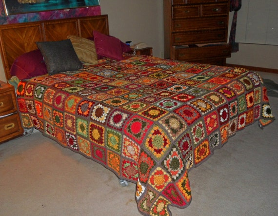 hand made queen size granny square autumn afghan