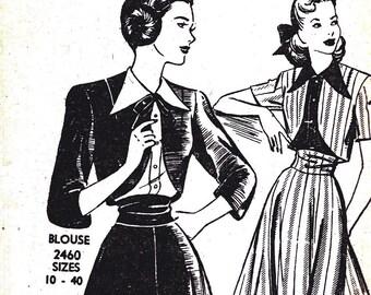 1940s Bust 32 Misses Skirt Bolero Jacket Vintage Sewing Pattern Original Mailed Envelope 2459 Mail order c 40s or early 1950s