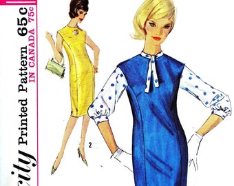 1960s Bust 33 Misses Wiggle Dress with Princess Seam and Blouse c 1963 60s Simplicity 5266