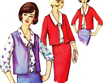 1960s Bust 38 Misses Jacket Blouse Sash and Skirt c 1964 60s Simplicity 5782