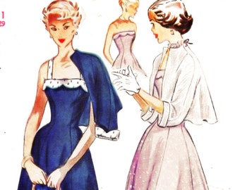 1940s Bust 29 Misses Evening Dress Strapless Bolero Jacket Summer Sundress Vintage Sewing Pattern 2895 Simplicity c 1949 40s