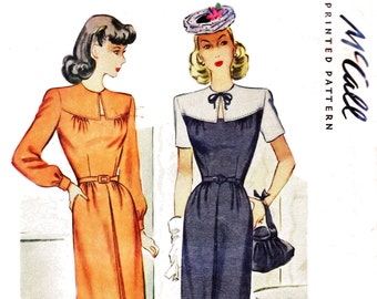 1940s Bust 30 Misses Dress Day Bodice Slit Opening Vintage Sewing Pattern Mccalls 6159 c 1945 40s