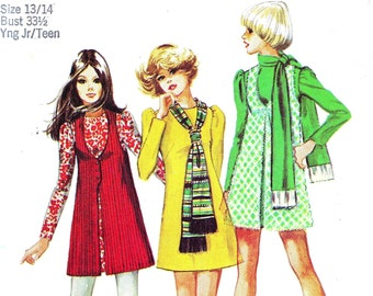 1970s Bust 33 1/2 Misses Mini Dress Vest and Scarf Junior Teen c 1970 70s Simplicity 8931