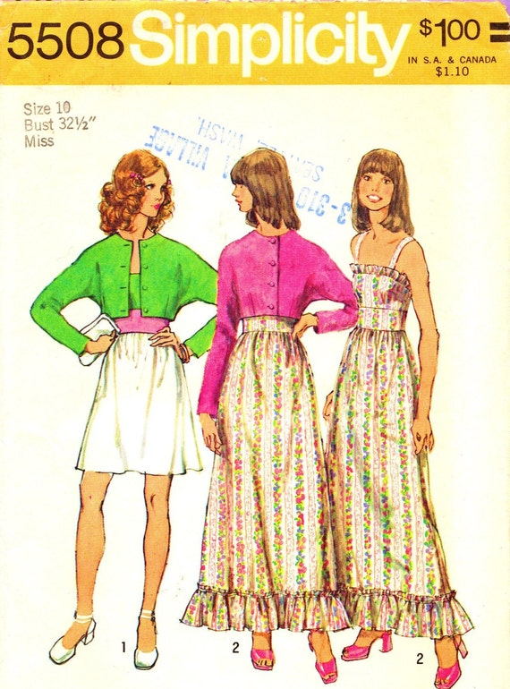 Simplicity 5508 Bust 32 1/2 Misses Dress and Jacket Mini Skirt with Ruffle c 1973 UNCUT