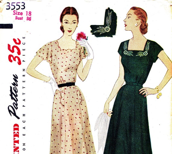 Simplicity 3553 Bust 36 Misses Dress So Pretty with Scallop Collar and Detail with Pockets and Embroidery Transfer c 1951 UNCUT