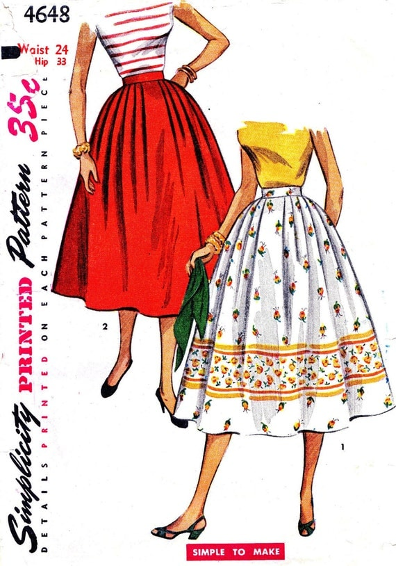 Simplicity 4648 Waist 24 Misses Skirt Great 50s Style Pleat Detail Adorable c1954