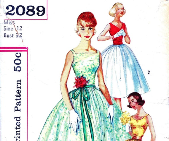 SALE 25%OFF Coupon: MOVING2012  Simplicity 2089 Bust 32  Dress Round V or Square Neckline Day or Evening c 1957 Summer Sundress