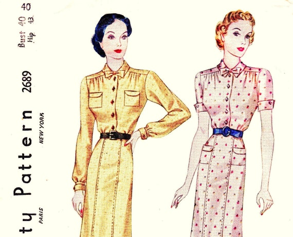 1930s Bust 40 Misses Plus Size Dress Pleat Detail Bow Vintage Sewing Pattern Simplicity 2689 c 1938